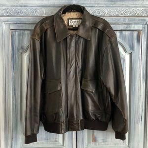 COMINT for Men Brown Leather Bomber Jacket
